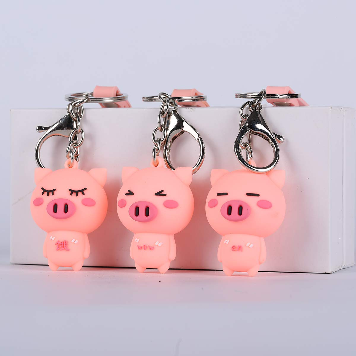 Amazon.com: Funny Pig Keychains, Cute Animals Keyring for ...