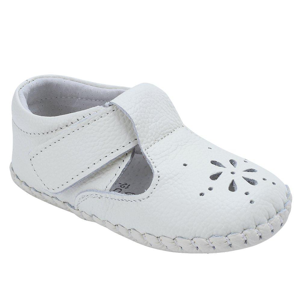 Kuner Baby Girls Genuine Leather Anti-Slip Summer Prewalker Toddler Sandals First Walkers Outdoor Shoes (12.5cm(12-18months), White-2) by Kuner (Image #2)