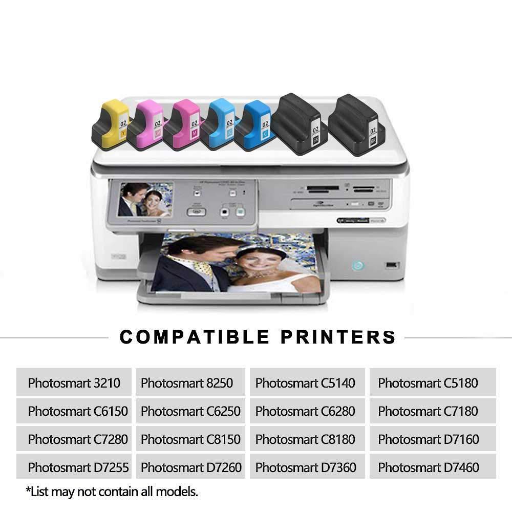 2 Pack Remanufactured Ink Cartridge Black Replacement for HP 02 Q7964AN for HP PhotoSmart C7280 C6280 C5180 C6180 D7360 D7460 8250 C7200 Printers