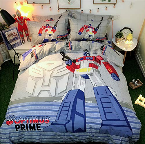 Casa 100% Cotton Kids Bedding Set Boys Transformers Optimus Prime Duvet Cover and Pillow Cases and Fitted Sheet,4 Pieces,Queen