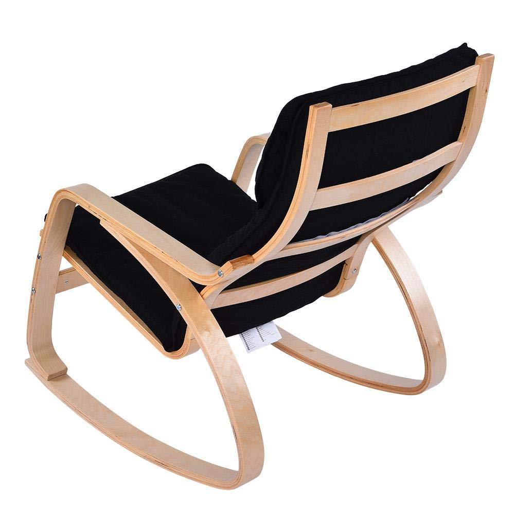 poltrona rilassante moderna per casa e ufficio Nero Sedia a dondolo reclinabile comoda poltrona rilassante in legno di betulla