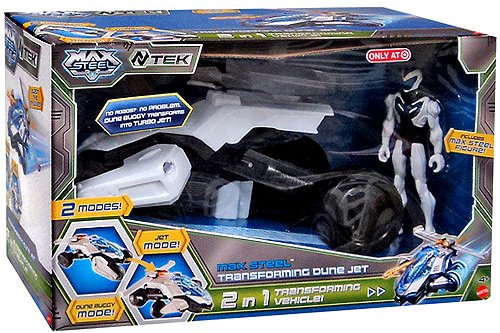 2 in 1 Transforming Vehicle Max Steel Vehicle /& Figure Transforming Dune Jet Max Steel Mattel