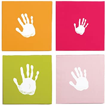 Amazon.com : Pearhead Canvas Handprint Wall Art Set, Pink ...