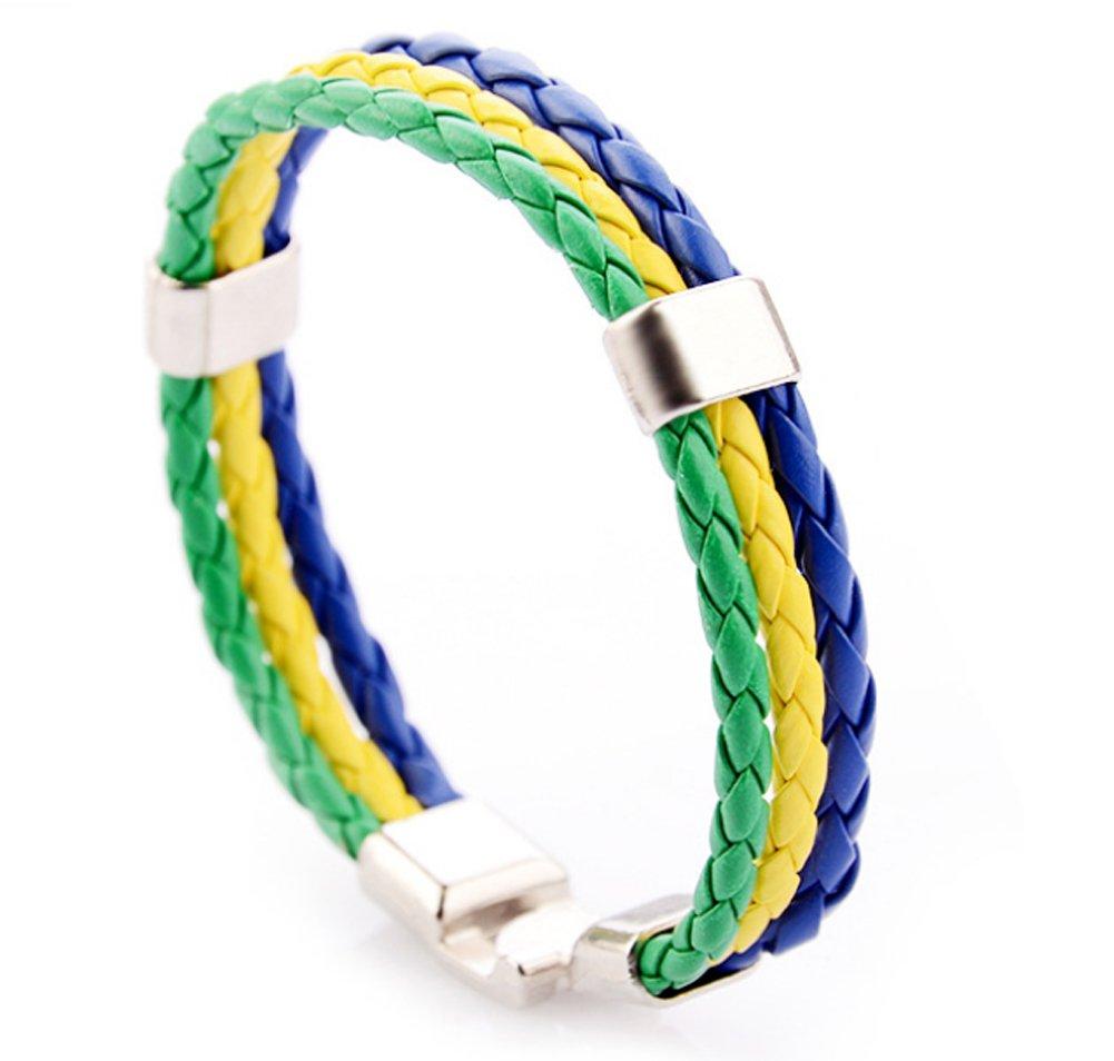 サッカーファンスポーツNational Flag PU手首bracelet-10 Nations Available B07DC37KL7 ブラジル ブラジル