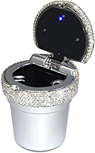 eing Car Ashtray Portable Bling Cigarette Smokeless Cylinder Cup Holder with Blue LED Light Indicator,Car Accessories for Women,Ideal for Car,Home and Office,Silver