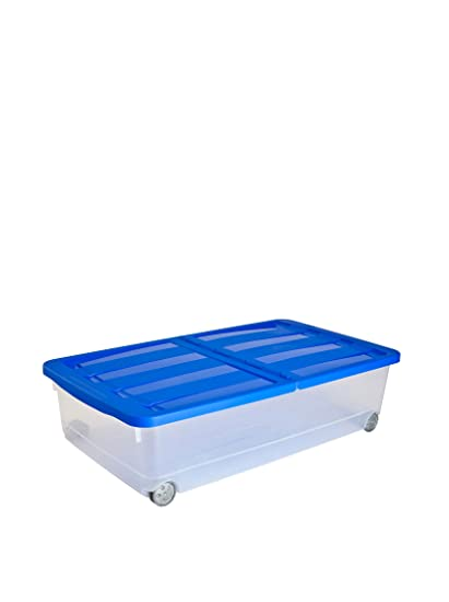 Curver - Caja Organizadora Bajocama 32L. con Tapa - Con Ruedas - Color Azul