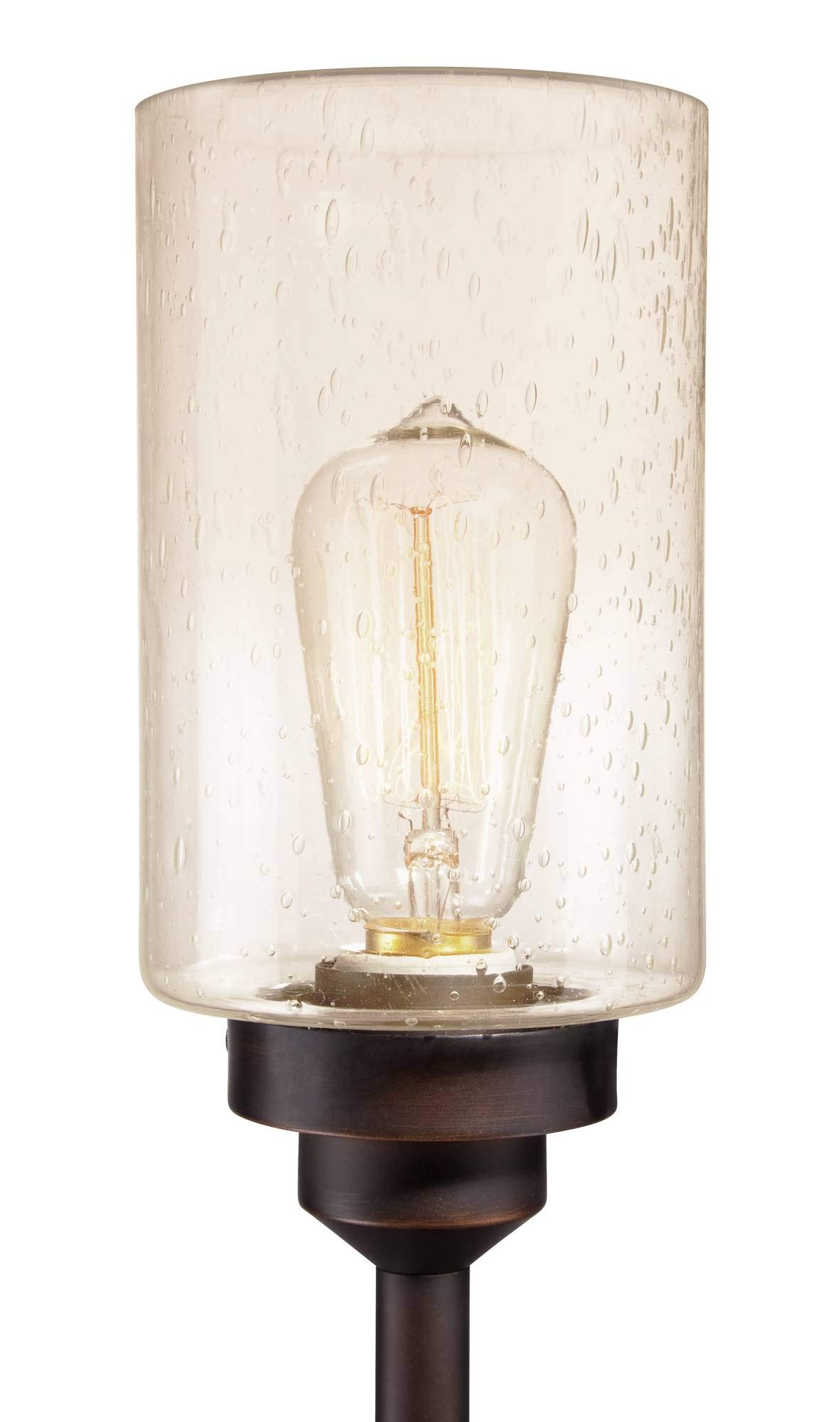 Libby Vintage Floor Lamp 3-Light Oiled Bronze Amber Seedy Glass Dimmable LED Edison Bulb for Living Room Bedroom - Franklin Iron Works by Franklin Iron Works (Image #4)