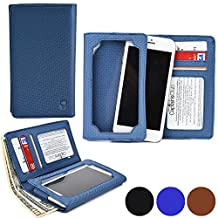 Cooper Cases(TM) Infinite Wallet LG Google Nexus 4 / Nexus 5 Case in Blue (PU Canvas Cover, Built-in Screen Protector, Card Slots, ID Holder, Billfold)
