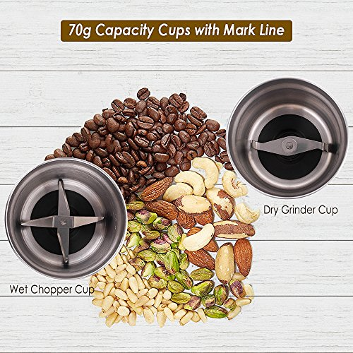 CHULUX Electric Spices and Coffee Grinder with 2.5 Ounce Two Detachable Cups for Wet/Dry Food,Powerful Stainless Steel Blades and Cleaning Brush by CHULUX (Image #1)'