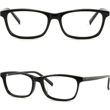 76f9f6b0ac Men Women Thin Light Acetate Plastic Frame Prescription Glasses Shiny Black