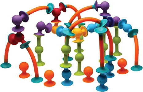 Exclusive Combo Suction Toy Building Set FAT BRAIN TOYS Squigz Jumbo 75 Piece Set with Storage Bag BPA-Free
