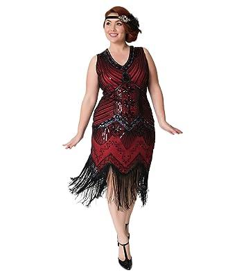 31b57d49dd7b Image Unavailable. Image not available for. Color  Unique Vintage Plus Size  1920s Deco Red   Black Veronique Fringe Flapper Dress