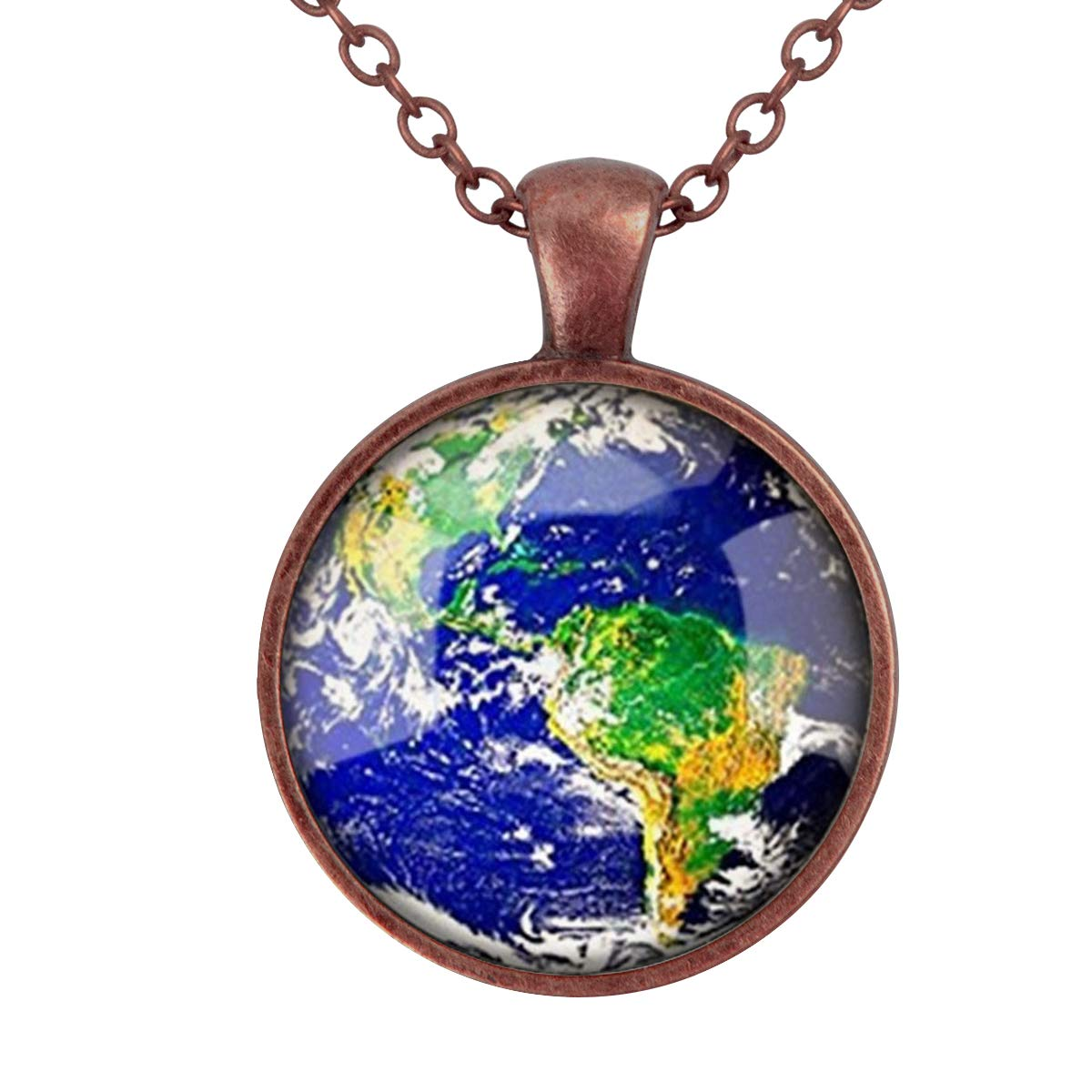 Lightrain The Earth Photo Environmental Protection Theme Pendant Necklace Vintage Bronze Chain Statement Necklace Handmade Jewelry Gifts