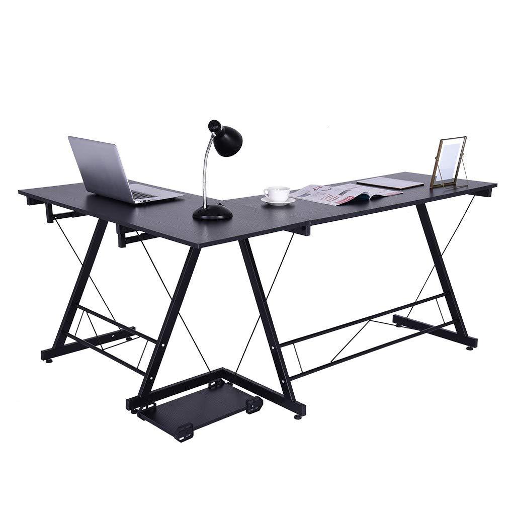 BeautyShe L-Shape Corner Computer Office Desk - PC Laptop Table Workstation Home Office 3-Piece,Black by BeautyShe