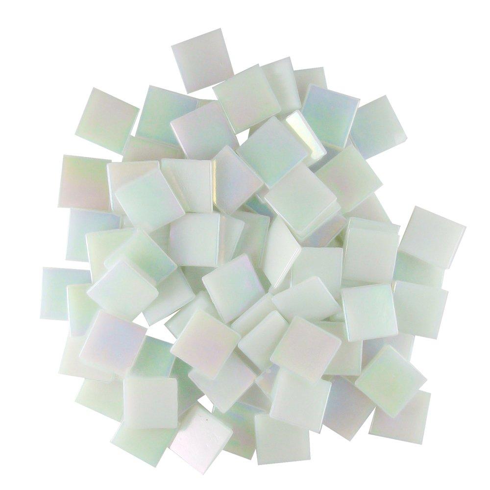Jennifer's Mosaics White 3/4-Inch Iridized Venetian Style Glass Mosaic Tile, 8-Ounce (T299 8 OZ)