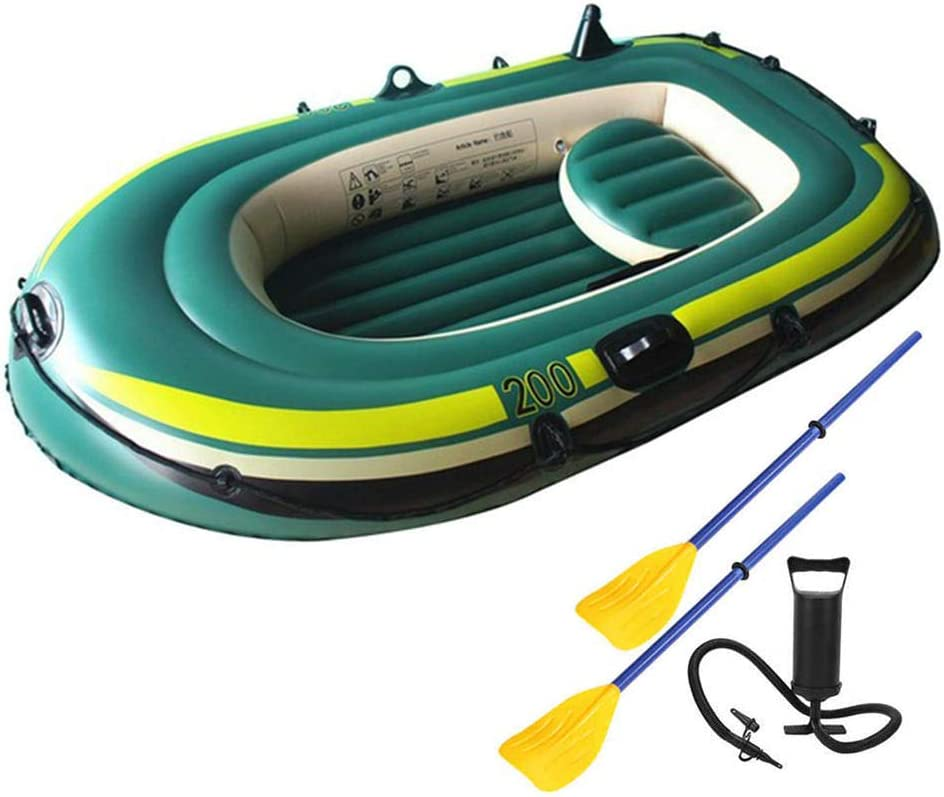 EYLIFE 2-Person Inflatable Kayak, Heavy Duty Inflatable Canoe with Oars and High Output Air Pump, Tear-Resistant Foldable Fishing Boat for Outdoor Drifting Traveling