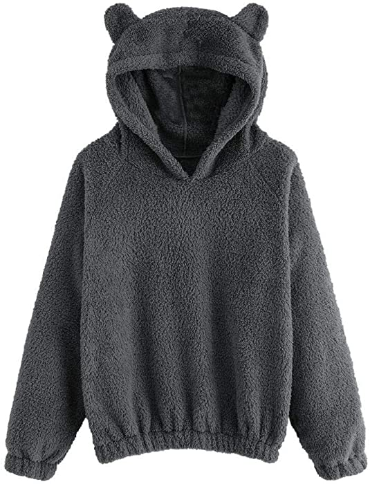 LILICAT❋ Suéter de Oso de Doble Cara, Sudadera de Lana de Manga Larga para Mujer Sudadera con Capucha Fuzzy con Forma de Oso cálido