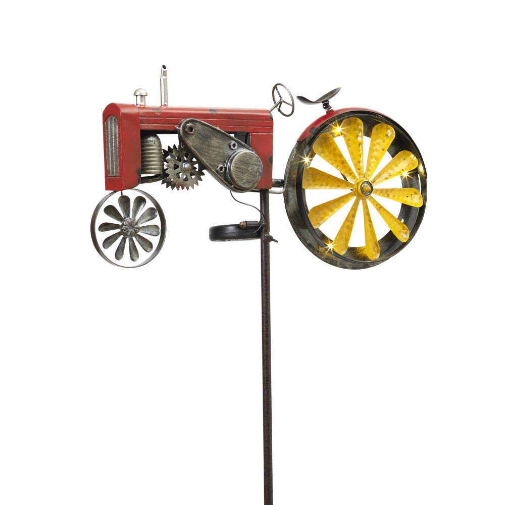 Diva At Home 63'' Solar Tractor Garden Yard Stake