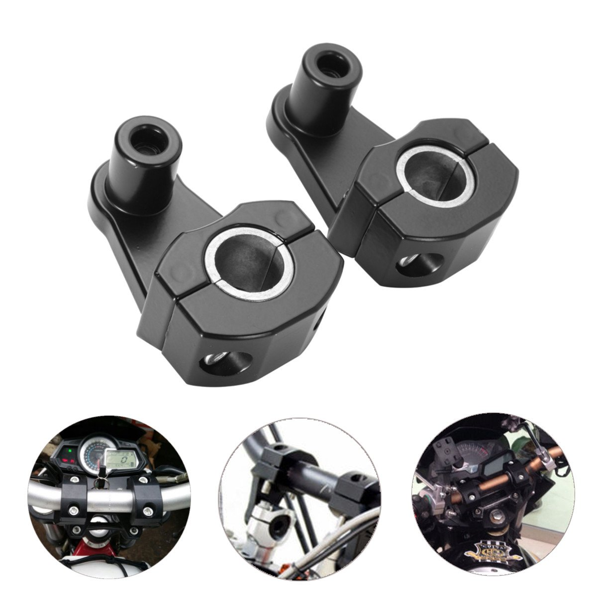 Kungfu Mall 22MM Handlebar Clamps Riser Motorcycle Handle Fat Bar Mount Universal