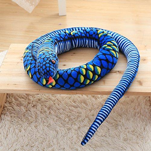 MIIA Snake Stuffed - Giant Simulation Snake Cloth Toy Soft Stuffed Dolls Birthday Gifts Baby Funny Plush Toy Long 111 Inch Snake Plush Toy - 111 Inch Blue - Valentine ()