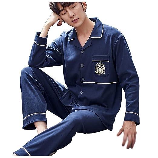 Hombre Set Pijama Top de Manga Larga y Pantalones Pijama de Algod/ón