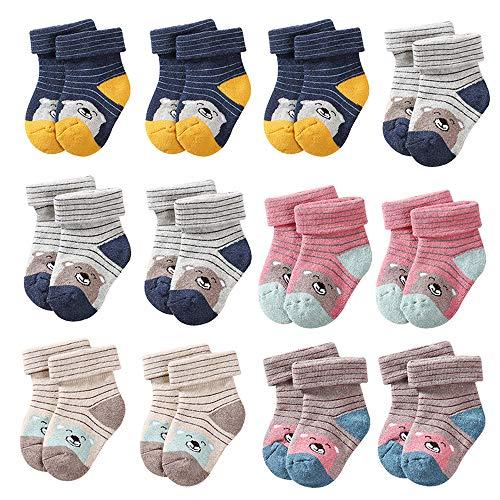 CHINEHIGH 12 Pairs Thick Warm Cartoon Infant Socks Cute Toddler Baby Girl Stripe Cotton Socks
