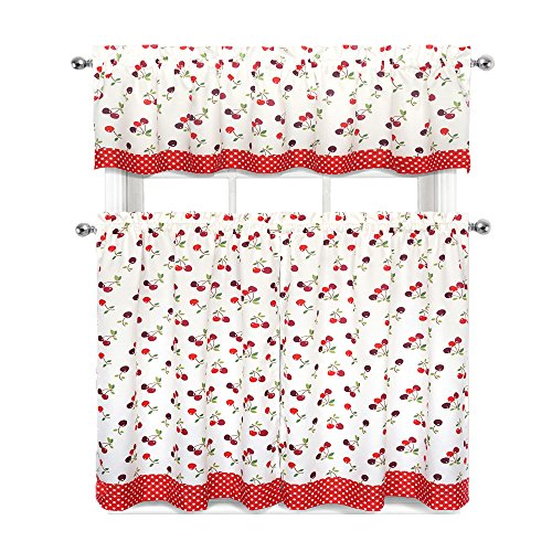 Cherries & Polka Dots Complete 3 Pc. Kitchen Curtain Tier & Valance Set - Adorable 3 Tier