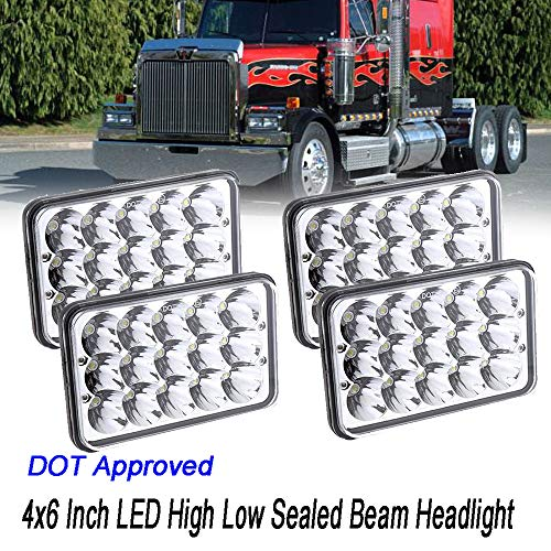 DOT Approved 4PCS LED Headlights for Western Star 4900 Semi Truck Peterbilt 357 378, 4x6