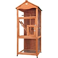 Petscene Wooden Bird Cage Aviary Parrot Budgie Canary Finch House 180cm