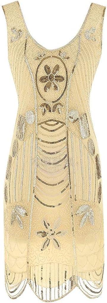 Womens Dress SHOBDW Female Fashion Plus Size 1920s Flapper Tassel Ladies Sleeveless Vintage Sequined Fringe Dress Great Evening Party Cocktail Dress