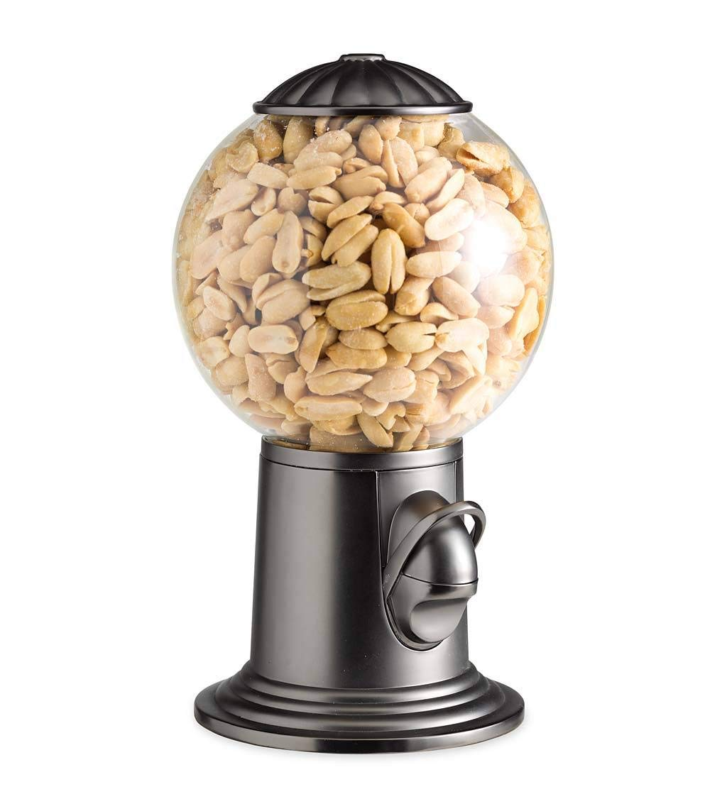 Plow & Hearth Classic Vintage Style Snack and Candy Dispenser - Glass Globe with Metal Base - Holds Approx. 12-16 oz - 5'' Diam x 9.25 H