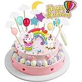 Joyoldelf Cake Toppers Einhorn Tortendekoration Kuchendeko Girlande Luftballon Wolke Kuchen Topper Geeignet für Geburtstag/Hochzeit/Feiertag/andere Party.