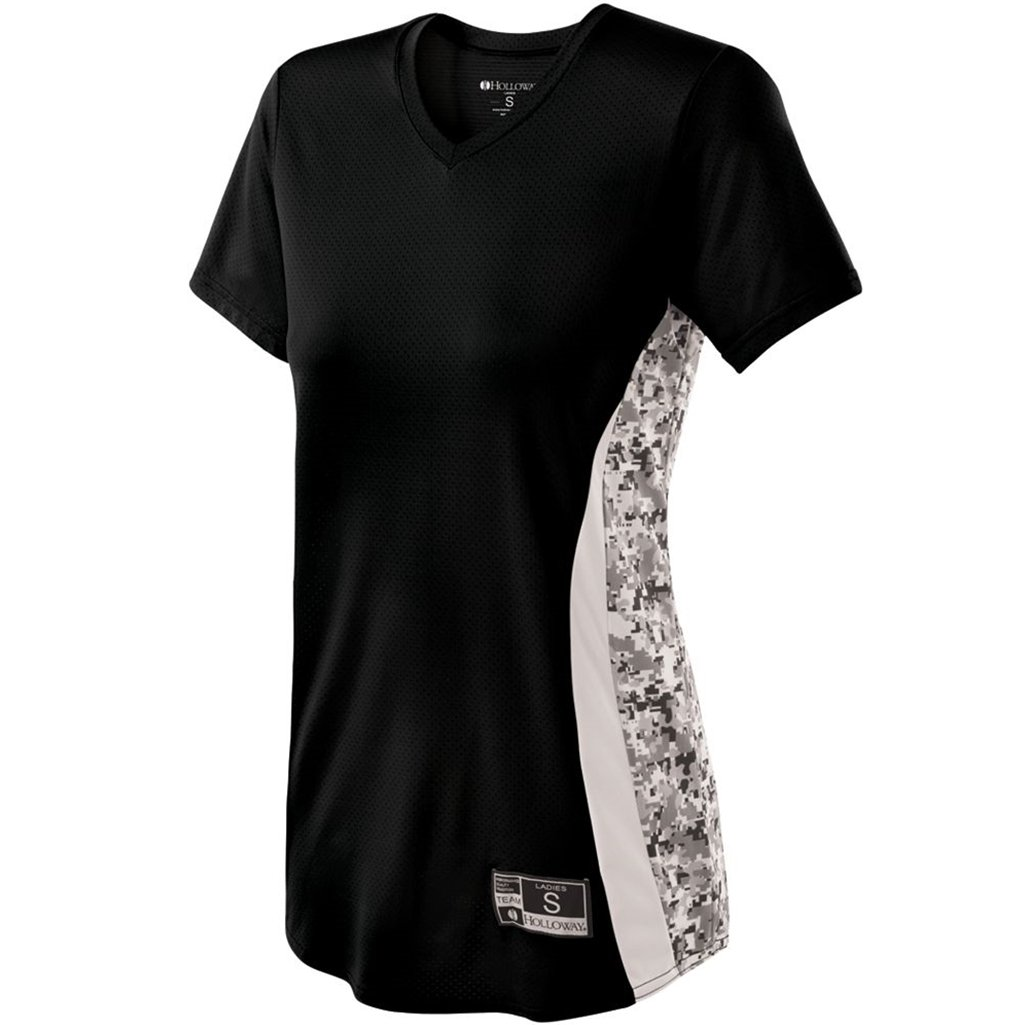 Holloway Ladies Change Up Jersey (Small, Black/White/White Print)