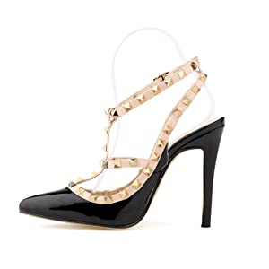 ZriEy Women's Ladies Close Toe Ankle Strap Wedding Bridal Party High Heels Sandals Black size 8.5