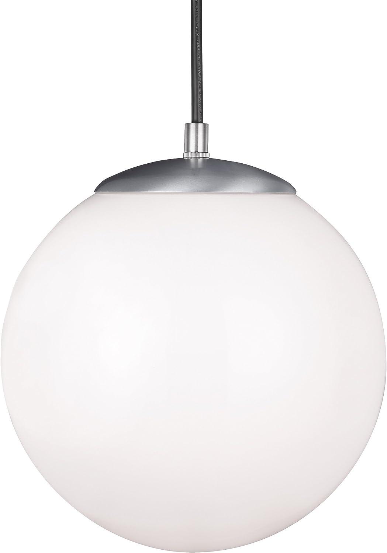 Sea Gull Lighting 6020-04 Leo Hanging Globe One-Light Pendant Hanging Modern Light Fixture, Satin Aluminum Finish