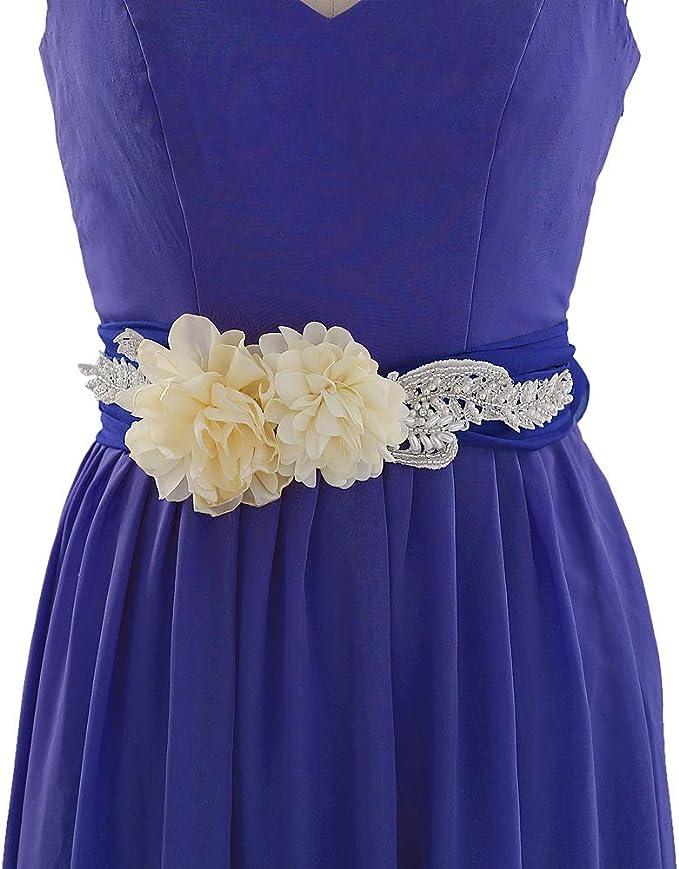 Ulapan Brautguertel Gold Brautgurtel Rosegold Brautgurtel Strass Blau Satin Kleid Amazon De Bekleidung