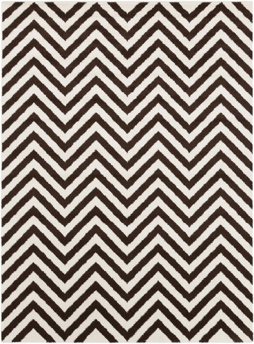 Diva At Home 9.25' x 12.5' Cascading Splendor Chocolate Brown and Pearl White Area Throw Rug