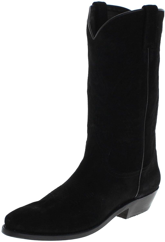 Fashion Stiefel Unisex Cowboy Stiefel 033 Lederstiefel Westernstiefel Schwarz