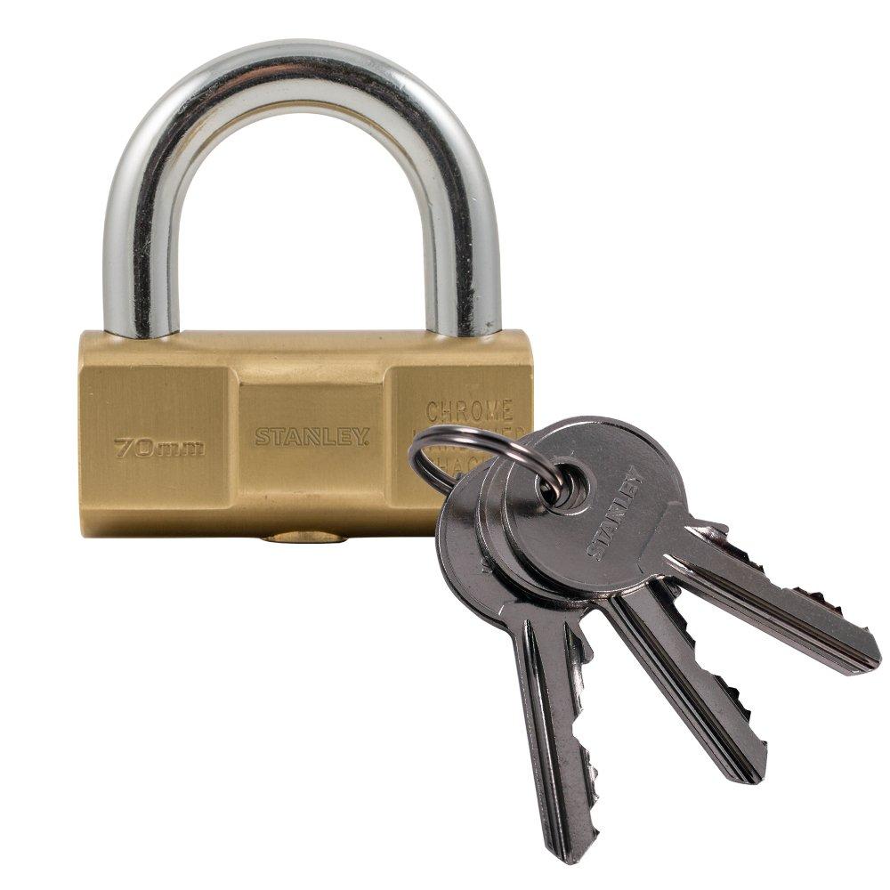 STANLEY Barrel Brass Vorhangschloss 50 mm, 3 Schlü ssel, S742-047, Schloss, Bü gelschloss BLAMT 81122 371 401