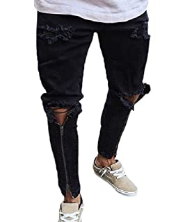 8b282f3ec62e XARAZA Men s Stretchy Ripped Skinny Biker Jeans Taped Slim Fit Denim Pants