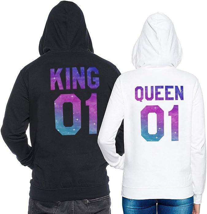 King Pullover Queen Suéter Pareja Sudadera con Capucha 2 Piezas Impresión Estrella Manga Larga Terciopelo para Mujer Hombre