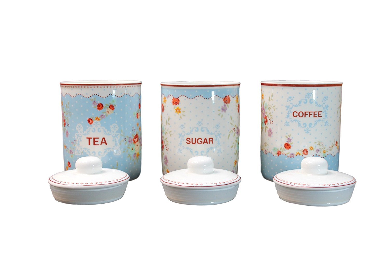 Tea Coffee Sugar Canisters Jars Storage Green Pink Blue Retro Funky