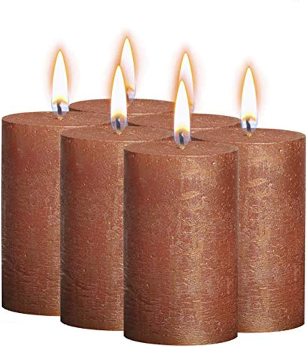 Bolsius Rustic Metallic Set of 6 Copper Unscented Pillar Candles Inches – 2.75 X 5 Decoration Dinner Party Wedding Candles – Perfect Use for Home Décor - Church-Spa Candle – Restaurant 130/68m