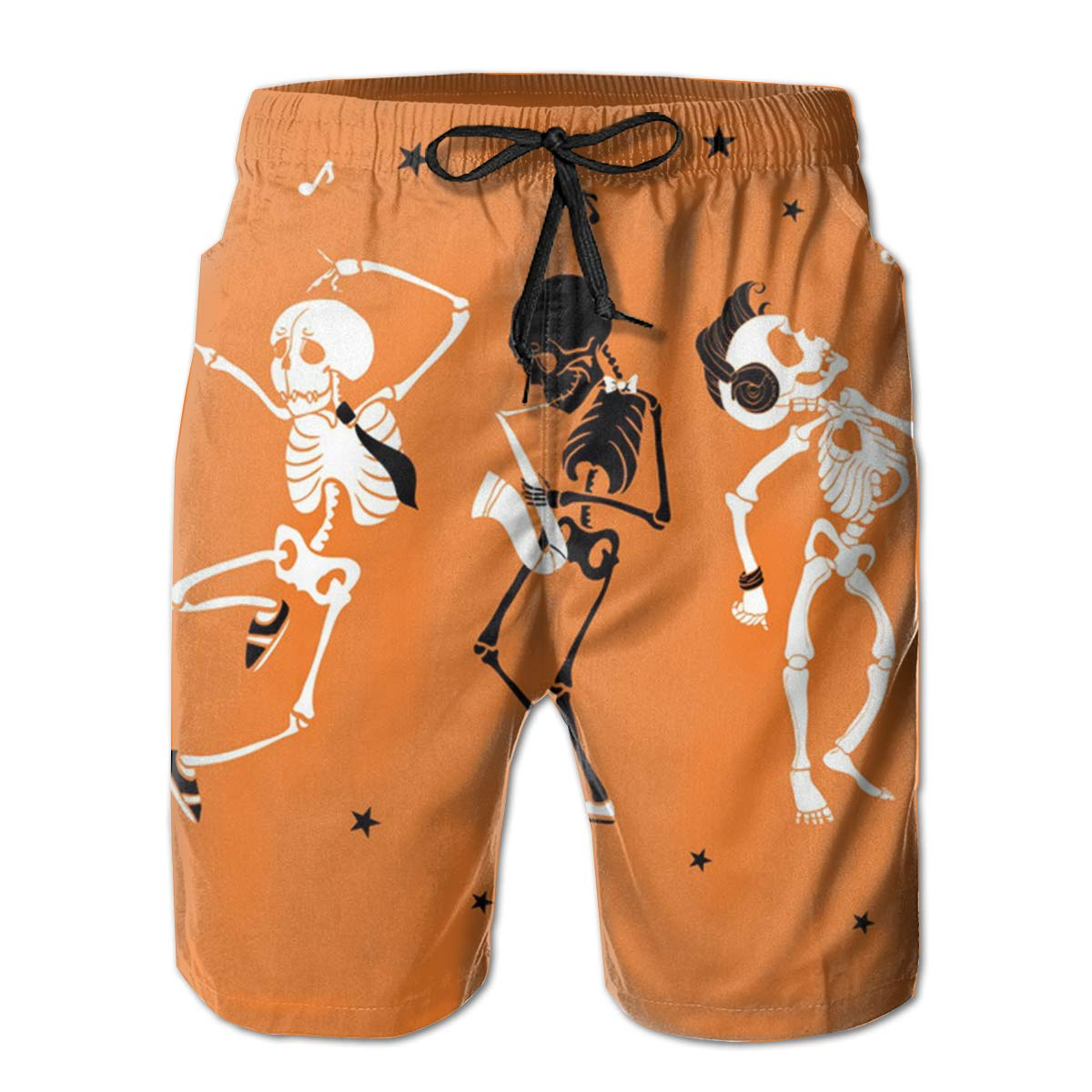 Swim Trunks Board Shorts for Men Fancy Illusion Skull Skeleton Cute Boys Mens Shorts