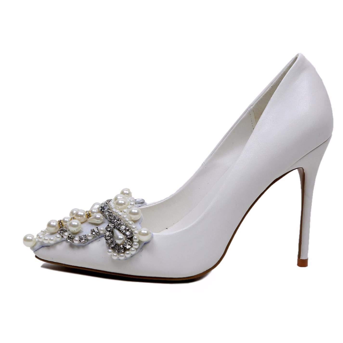 c01f736daefd0 Amazon.com: Pearl White Wedding Shoes For Women High Heels Stiletto ...