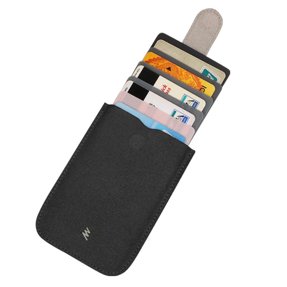 Vicloon Unisex Kreditkartenhüllen Kartenetui Geldbeutel Kartenhalter Allmähliche Farbe Änderung In Zücken-und Ziehenmodus Mit 5 Kartensteckplätze und 1 Slots, Schwarz Grau XBPJ3-KB-004-B