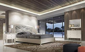 Amazon Com Modern White Finish Solid Wood King Size Bedroom Set 3 Pcs Soflex Valeria Kitchen Dining
