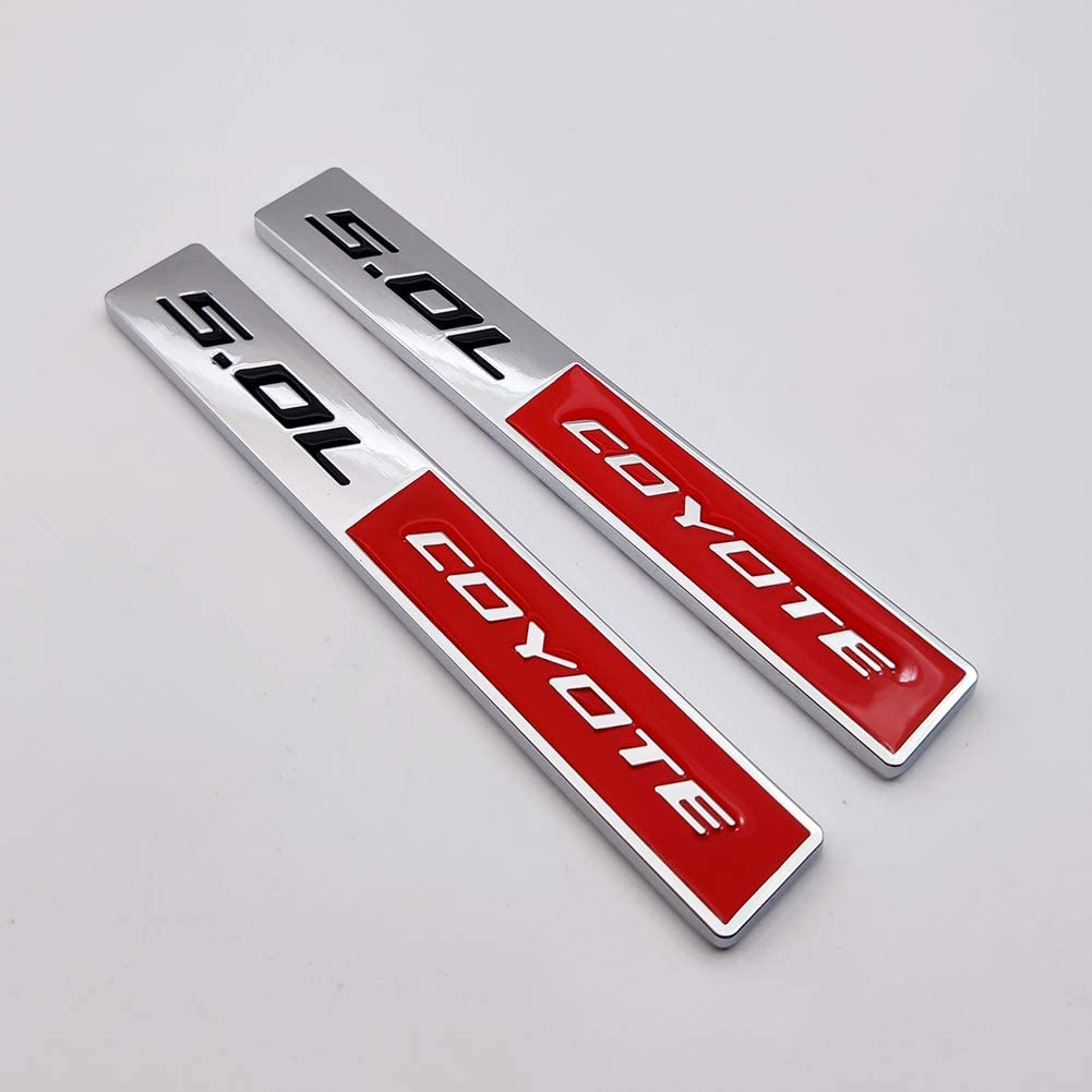 2X Chrome Metal 5.0 Coyote Logo Emblem 5.0L Badge 3D Turbo Sticker Car Decal for Mustang GT Silver/&Red