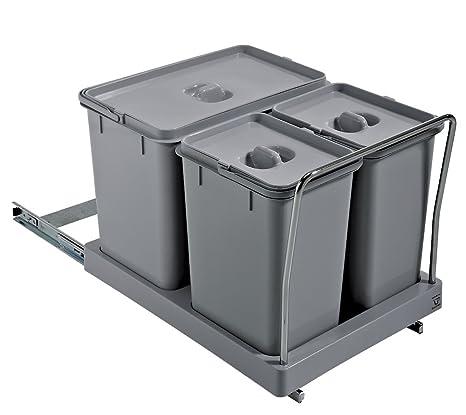 ELLETIPI Tower PA711 Mülleimer Mülltrennung, ausziehbar für Base,  Kunststoff und Metall, Grau, 34 x 46 x 36 cm