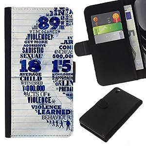 KLONGSHOP // Tirón de la caja Cartera de cuero con ranuras para tarjetas - Violencia Infantil Quote Sexo Vide Juegos de Arte - HTC DESIRE 816 //